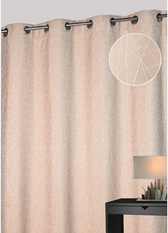 rideau d ameublement jacquard motif filaire beige. Black Bedroom Furniture Sets. Home Design Ideas