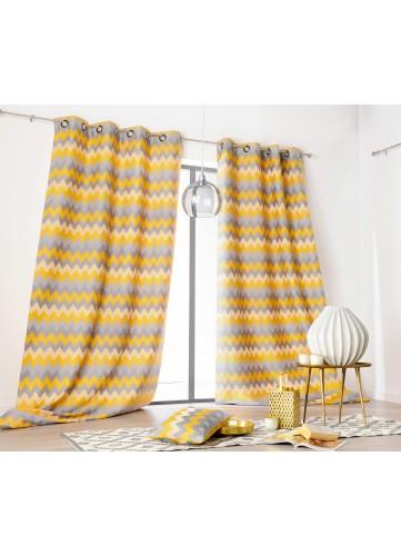 rideau motifs g om triques avec oeillets personnaliser sur. Black Bedroom Furniture Sets. Home Design Ideas
