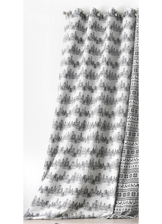 rideau fantaisie avec oeillets et dessin sapin gris et blanc homemaison vente en ligne. Black Bedroom Furniture Sets. Home Design Ideas