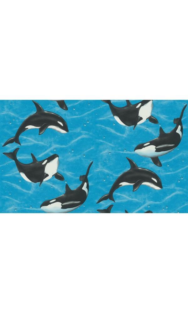 Papier peint Orques au coeur de l'océan - Bleu - 10 m x 0,53 m