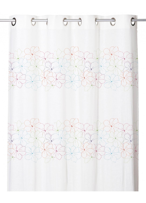 voilage effet etamine de lin rayures fleuries multicolore homemaison vente en ligne voilages. Black Bedroom Furniture Sets. Home Design Ideas