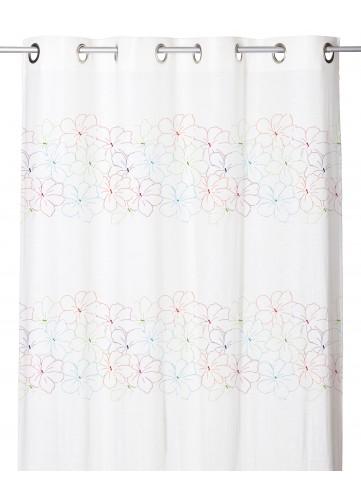 Voilage Effet Etamine de Lin à Rayures Fleuries (Multicolore)