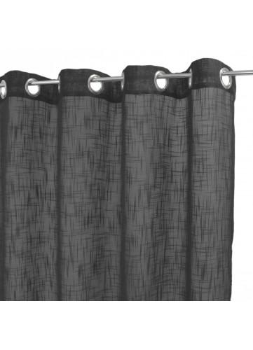 voilage uni en etamine de lin anthracite 140 x 250 cm chez homemaison. Black Bedroom Furniture Sets. Home Design Ideas