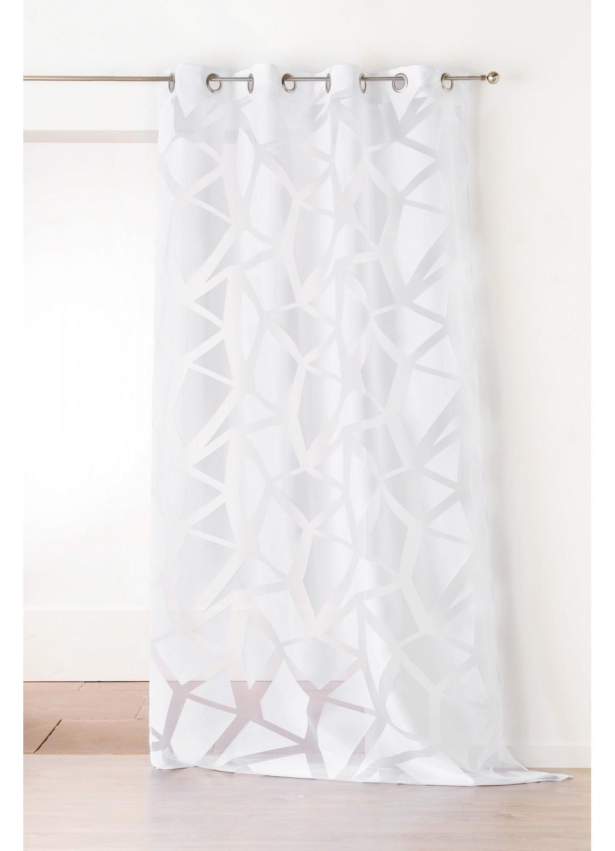 Voilage en Jacquard à Imprimés Géométriques Blanc (Blanc)