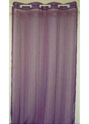 Voilage Rayures verticales et fils fantaisie - Prune - 140 x 260 cm