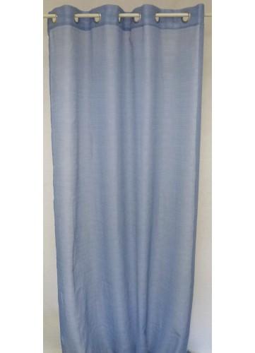 Voilage uni à fils fantaisie - Bleu - 140 x 260 cm