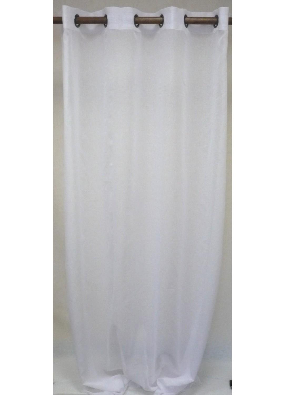 Voilage en étamine uni avec oeillets ronds (Blanc)