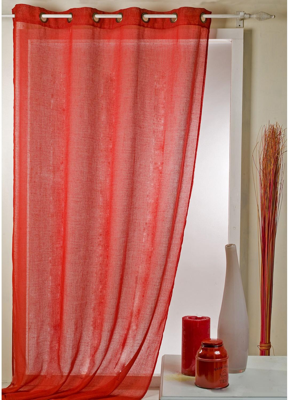 Voilage en étamine uni avec oeillets ronds (Rouge)