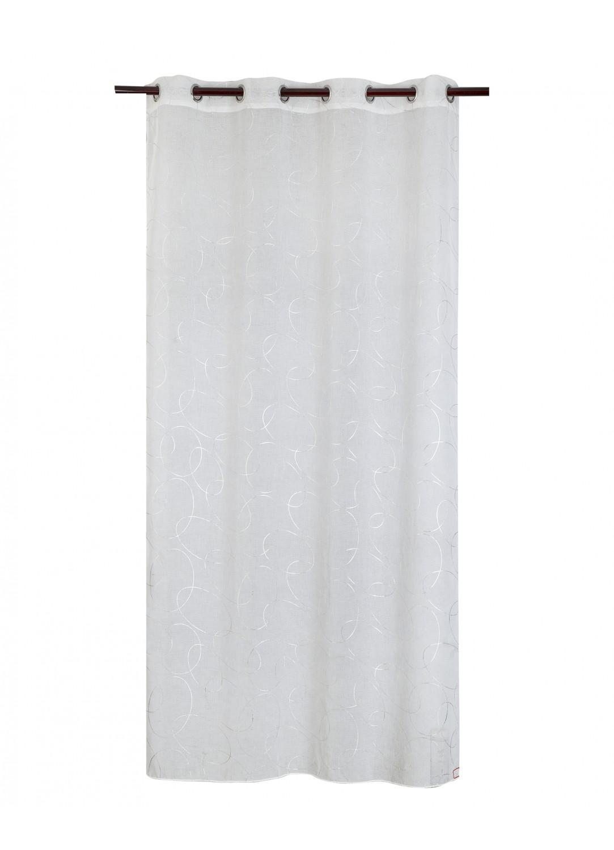 voilage imprim cercles argent s blanc noir beige. Black Bedroom Furniture Sets. Home Design Ideas
