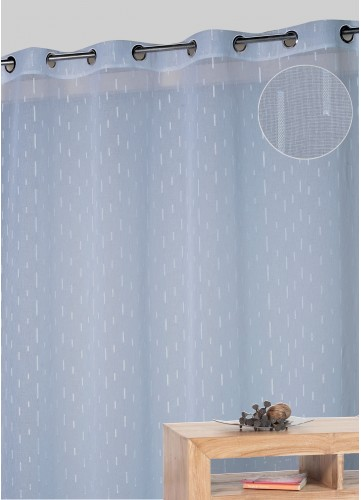 Voilage jacquard en forme de bâtonnets - Bleu - 140 x 260 cm