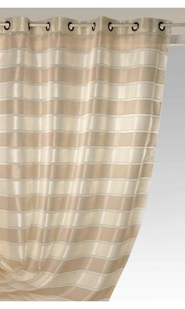 Voilage rayé et nacré - Ivoire - 140 x 240 cm