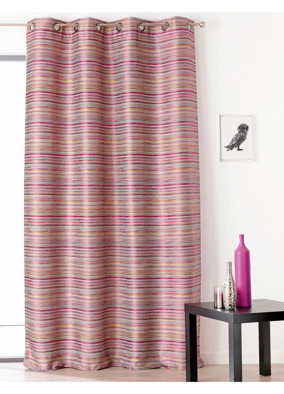 rideau aspect shantung avec oeillet rouge beige gris homemaison vente en ligne tous. Black Bedroom Furniture Sets. Home Design Ideas