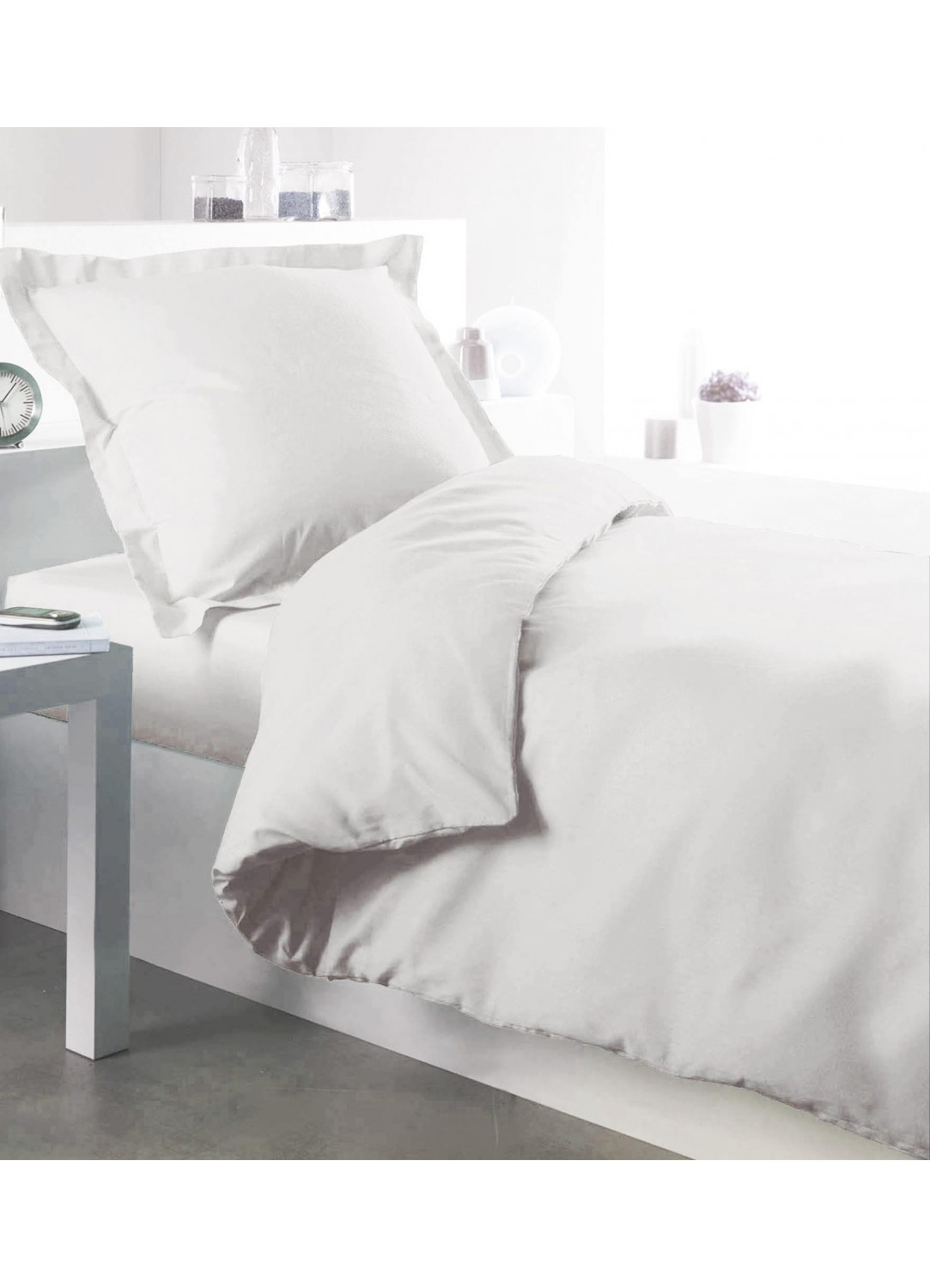 housse de couette percale 140 x 200 cm blanc. Black Bedroom Furniture Sets. Home Design Ideas