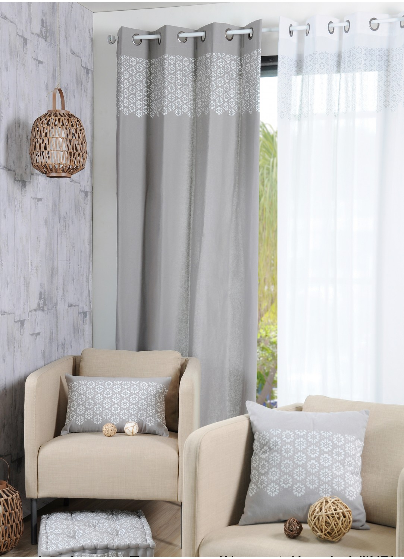 rideau uni frise florale gris homemaison vente en ligne rideaux. Black Bedroom Furniture Sets. Home Design Ideas