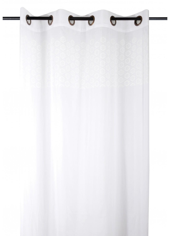 Voilage uni avec frise florale (Blanc)