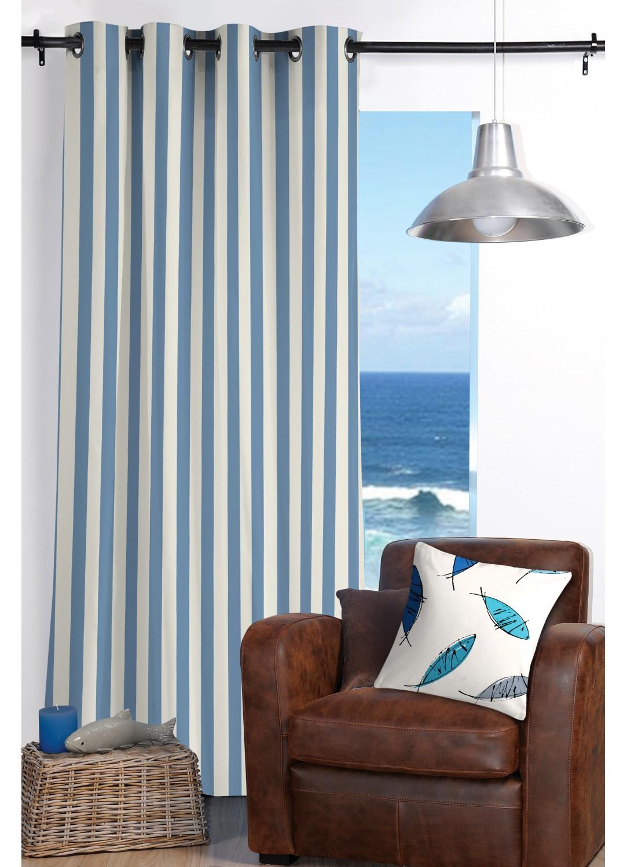rideau ray esprit bord de mer bleu homemaison vente en ligne rideaux. Black Bedroom Furniture Sets. Home Design Ideas