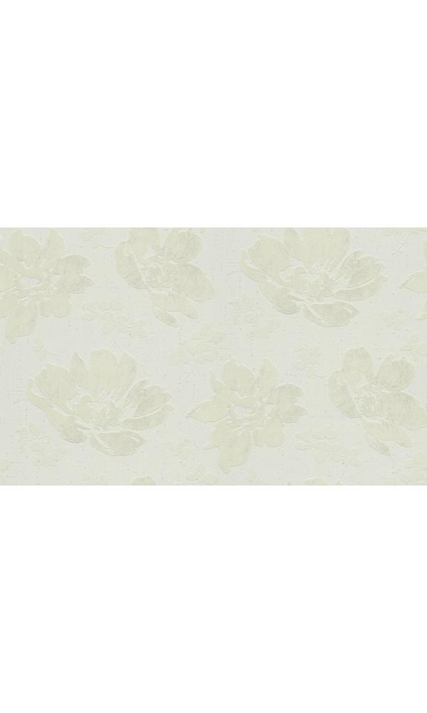 Papier peint motif Pivoines en relief - Blanc - 10 m x 0,53 m