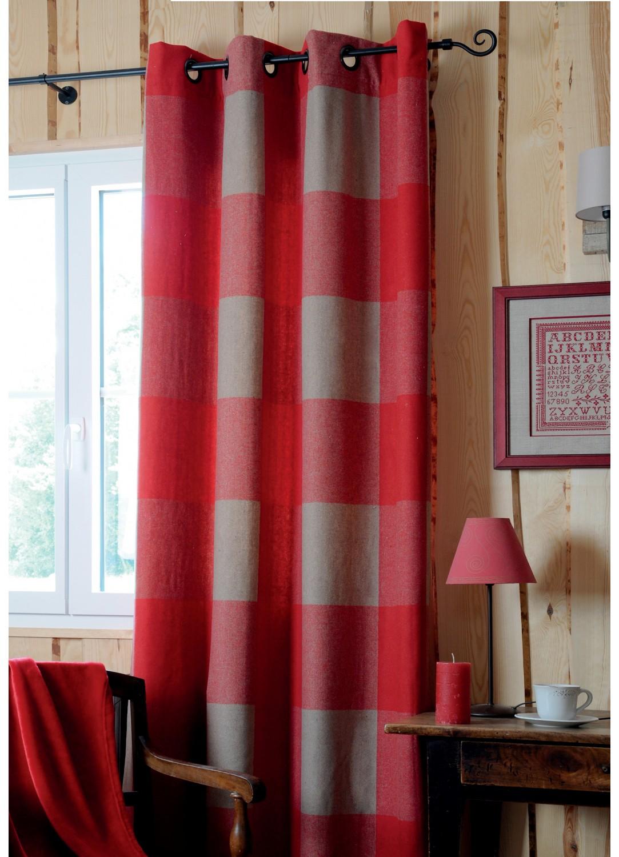 Rideau carreaux esprit montagne chic rouge lin homemaison vente en ligne rideaux for Rideau coeur montagne