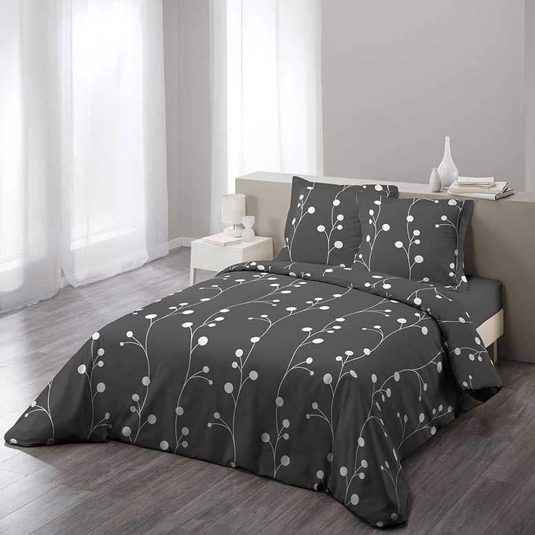 parure de lit inspiration muguet gris homemaison. Black Bedroom Furniture Sets. Home Design Ideas