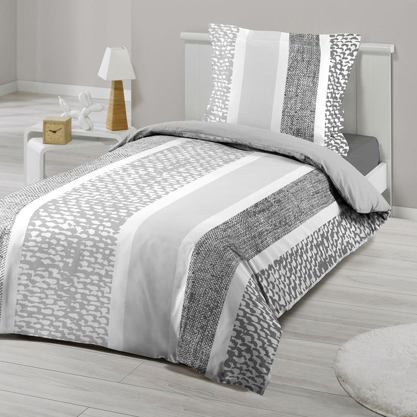 parure de lit avec motifs effet chin gris menthe homemaison vente en ligne parures de lit. Black Bedroom Furniture Sets. Home Design Ideas