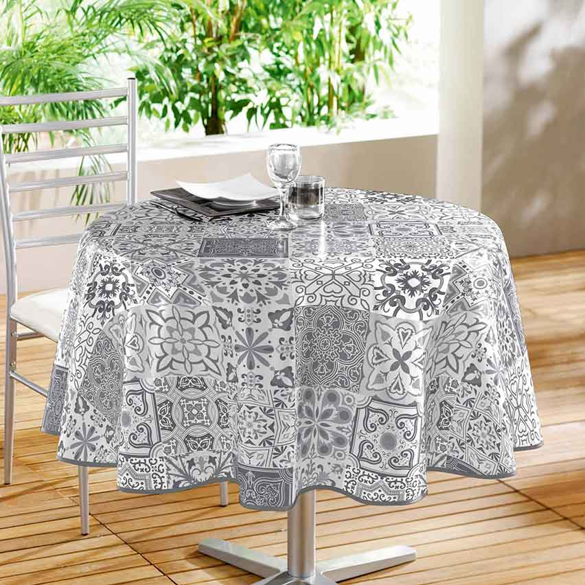 nappe ronde en pvc impression carreaux de ciment gris homemaison vente en ligne nappes. Black Bedroom Furniture Sets. Home Design Ideas