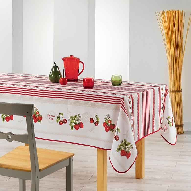 nappe rectangulaire impression fraises et cerises sans homemaison vente en ligne nappes. Black Bedroom Furniture Sets. Home Design Ideas