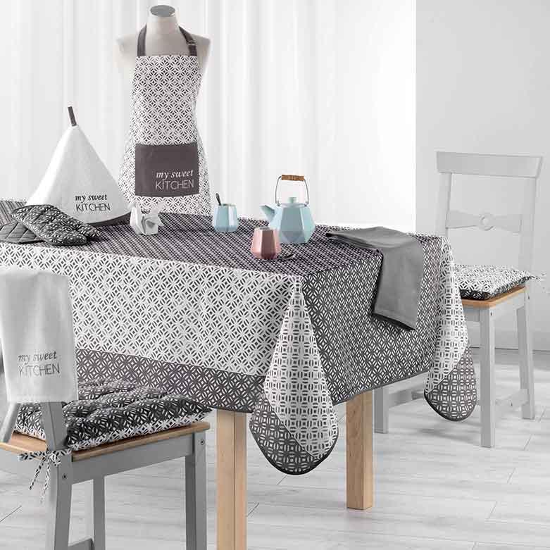 nappe rectangulaire imprim e gris menthe rose homemaison vente en ligne nappes. Black Bedroom Furniture Sets. Home Design Ideas