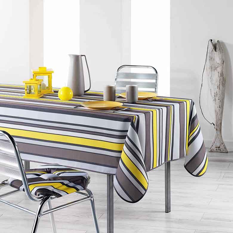 nappe rectangulaire imprim e ray e jaune homemaison vente en ligne nappes rectangulaires. Black Bedroom Furniture Sets. Home Design Ideas