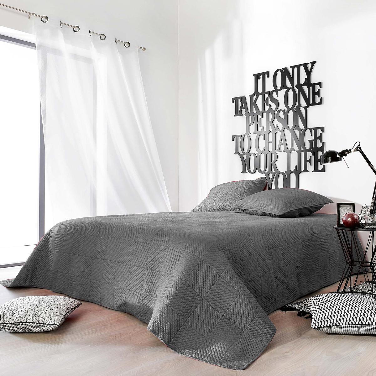 Couvre lit matelassé façon boutis en coton - Gris Foncé - 180 x 240 cm