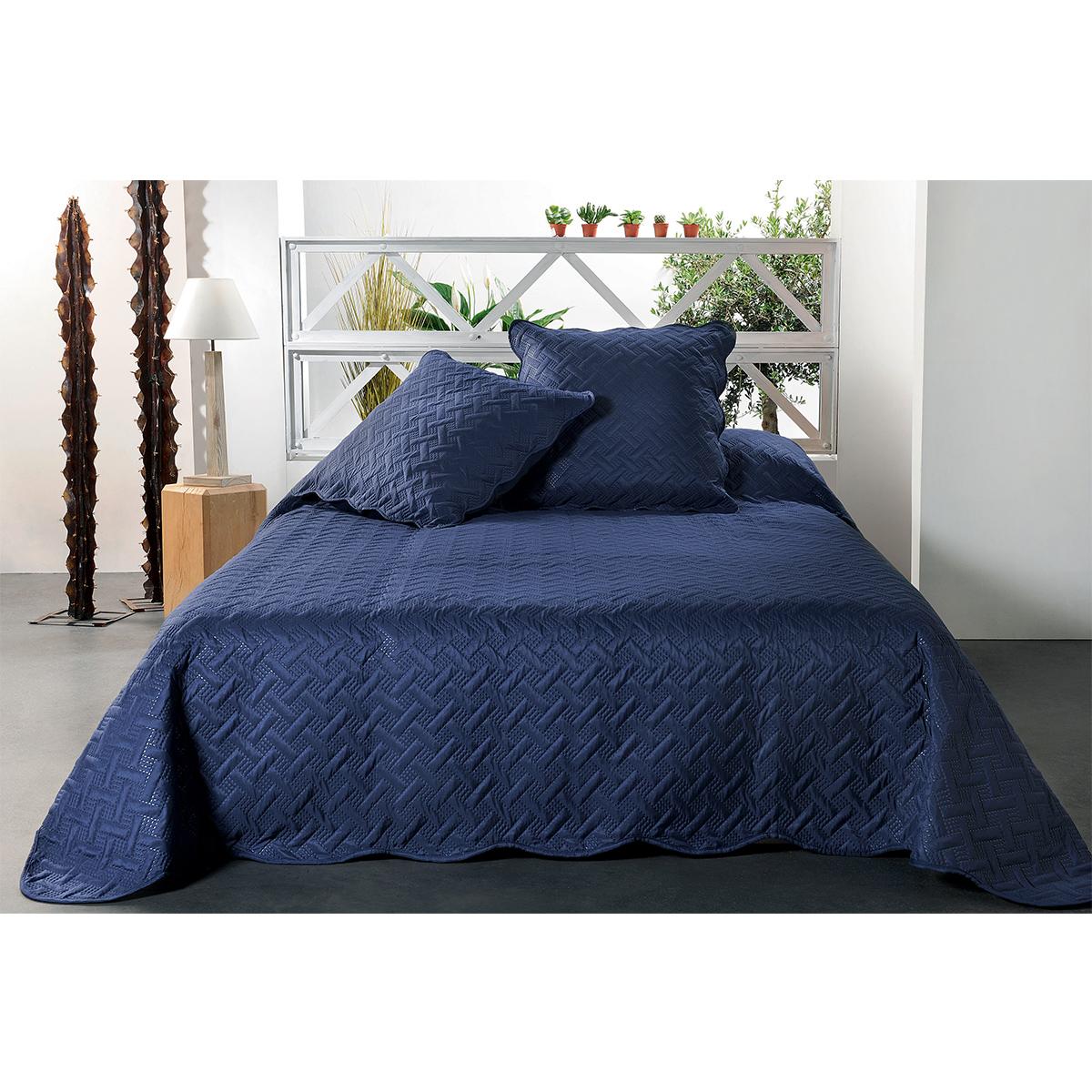 Jeté de lit aux formes géométriques surpiquées - Marine - 230 x 250 cm