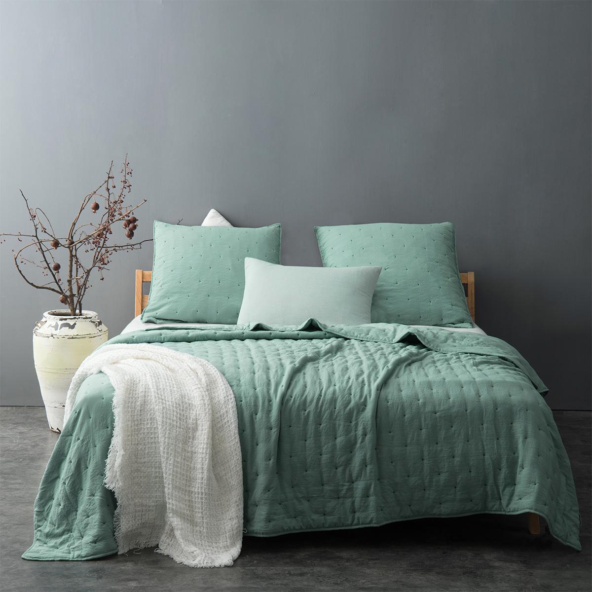 Couvre lit matelassé et moelleux - Vert - 180 x 240 cm