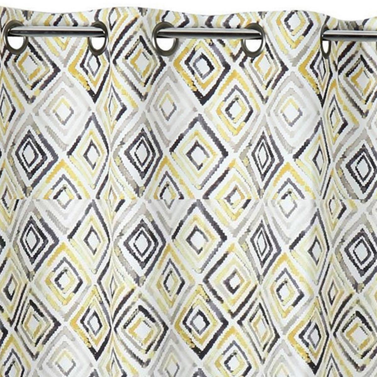 Rideau obscurcissant motifs géométriques losanges (Jaune)