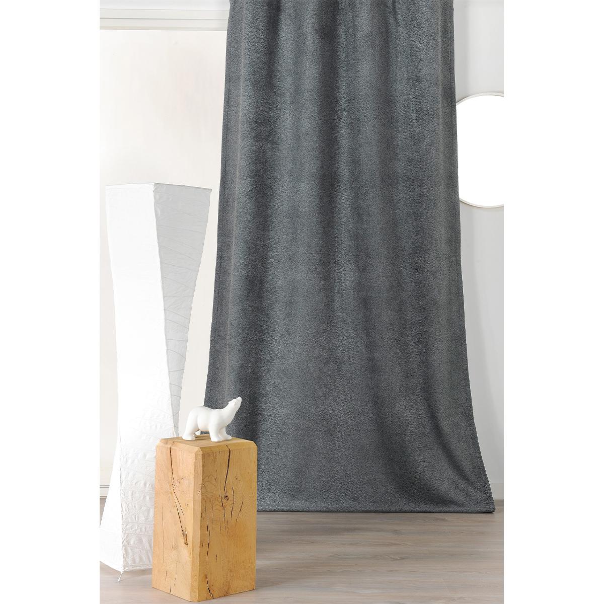 Rideau épais aspect laine chinée à galon fronceur - Gris Foncé - 140 x 250 cm