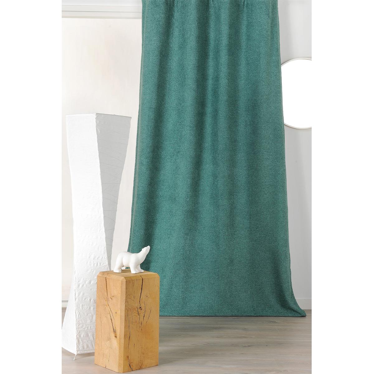 Rideau épais aspect laine chinée à galon fronceur - VERT SAPIN - 140 x 250 cm