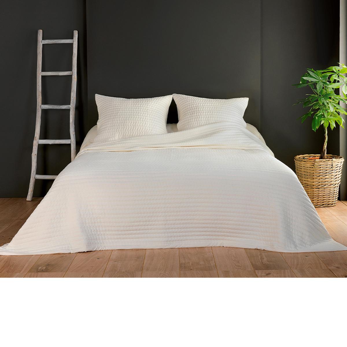 Couvre lit et taies unis matelassés - Ecru - 180 x 240 cm