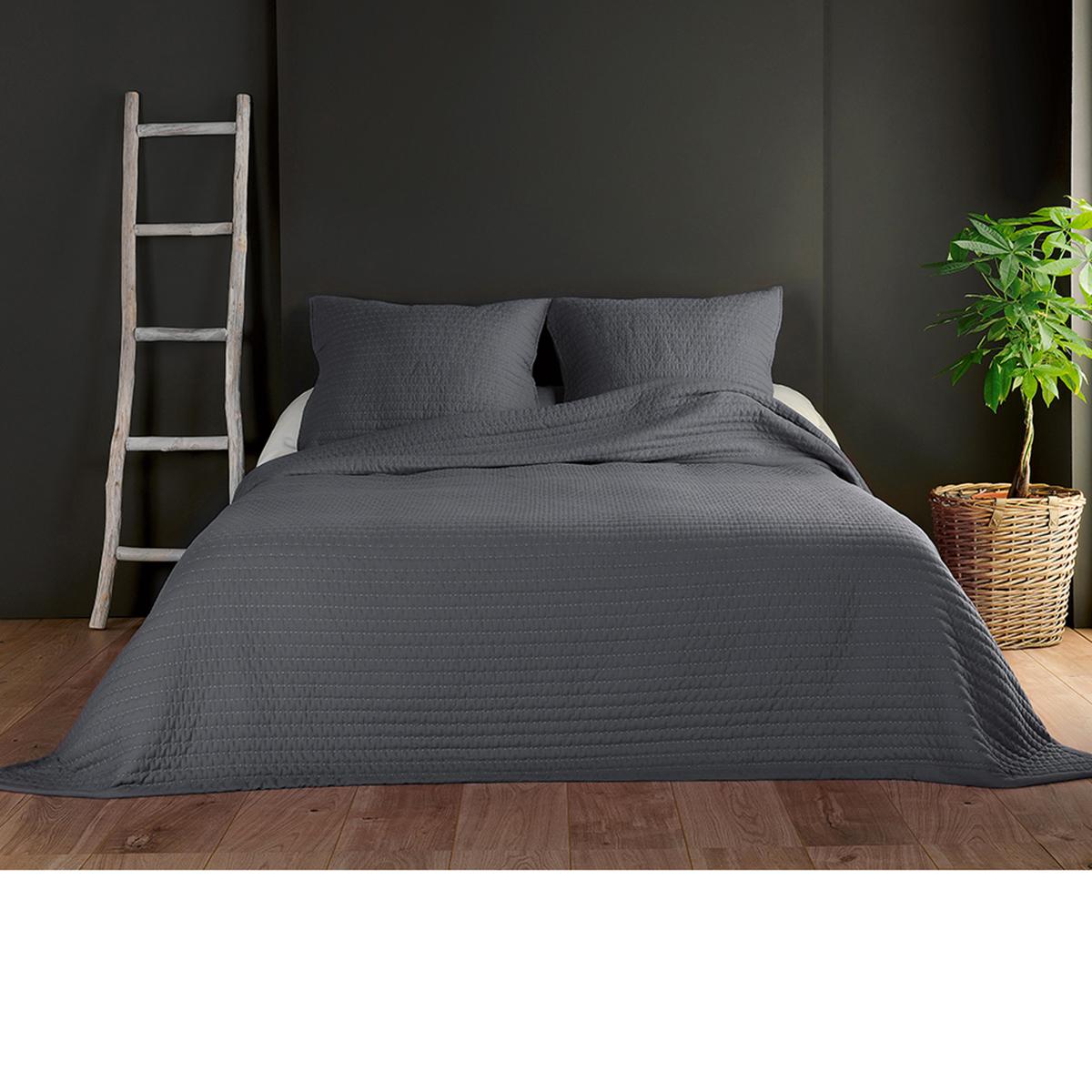 Couvre lit et taies unis matelassés - Gris Foncé - 180 x 240 cm