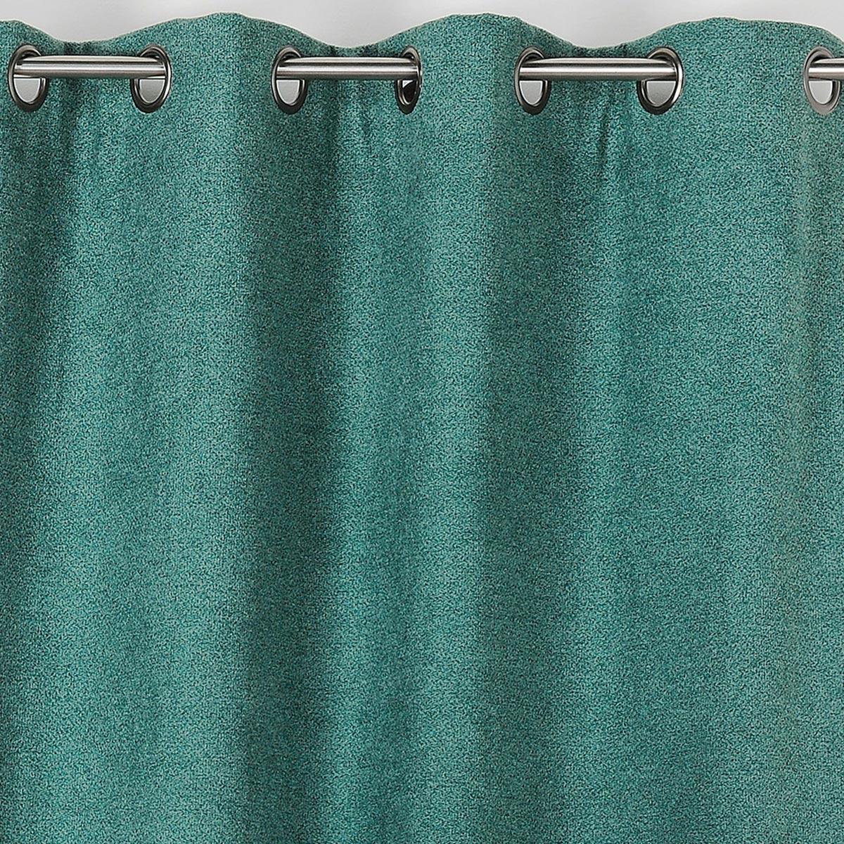 Rideau obscurcissant aspect laine chinée - VERT SAPIN - 140 x 250 cm