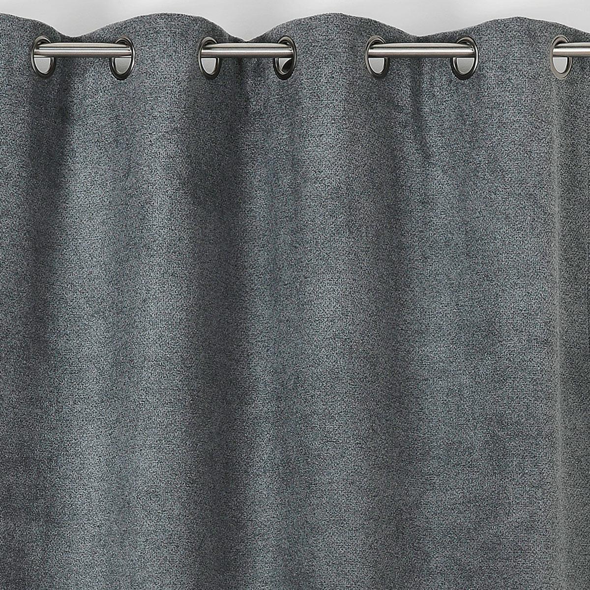 Rideau obscurcissant aspect laine chinée - Gris Foncé - 140 x 250 cm