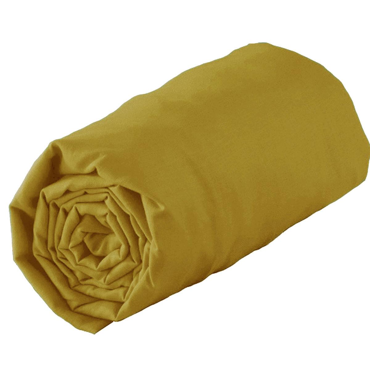 Drap Housse Uni en 100% Coton (Moutarde)