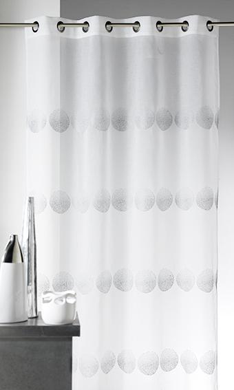 Voilage en étamine brodé de rayures horizontales à pois (Blanc)