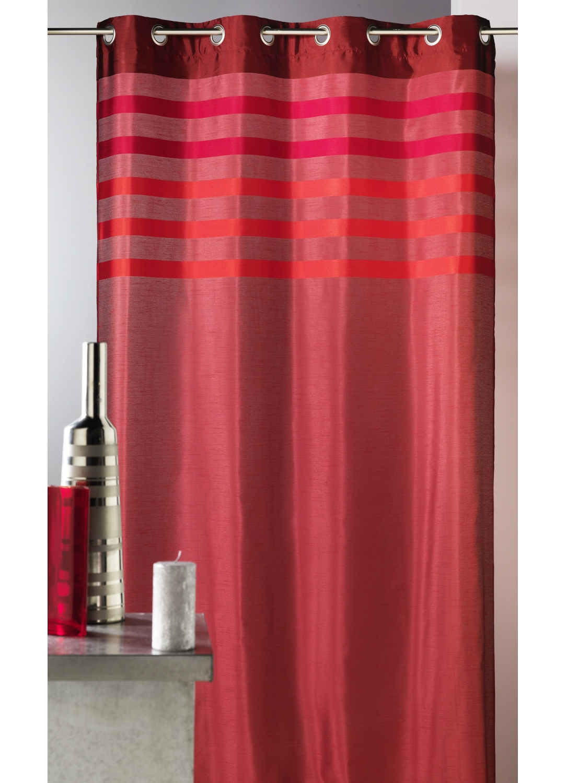 Rideau en shantung coloré avec parement ton sur ton (Rouge)