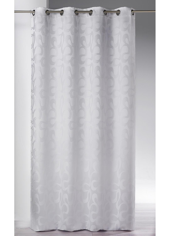 Rideau en jacquard aux imprimés ondulés (Blanc)