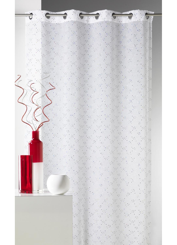 voilage en tamine imprim petits points color s blanc. Black Bedroom Furniture Sets. Home Design Ideas