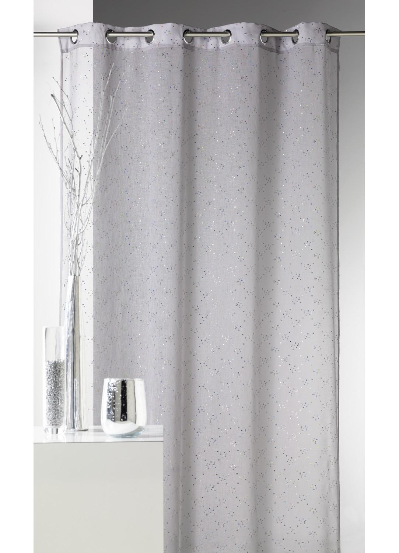 voilage en etamine a imprime petits points colores gris. Black Bedroom Furniture Sets. Home Design Ideas