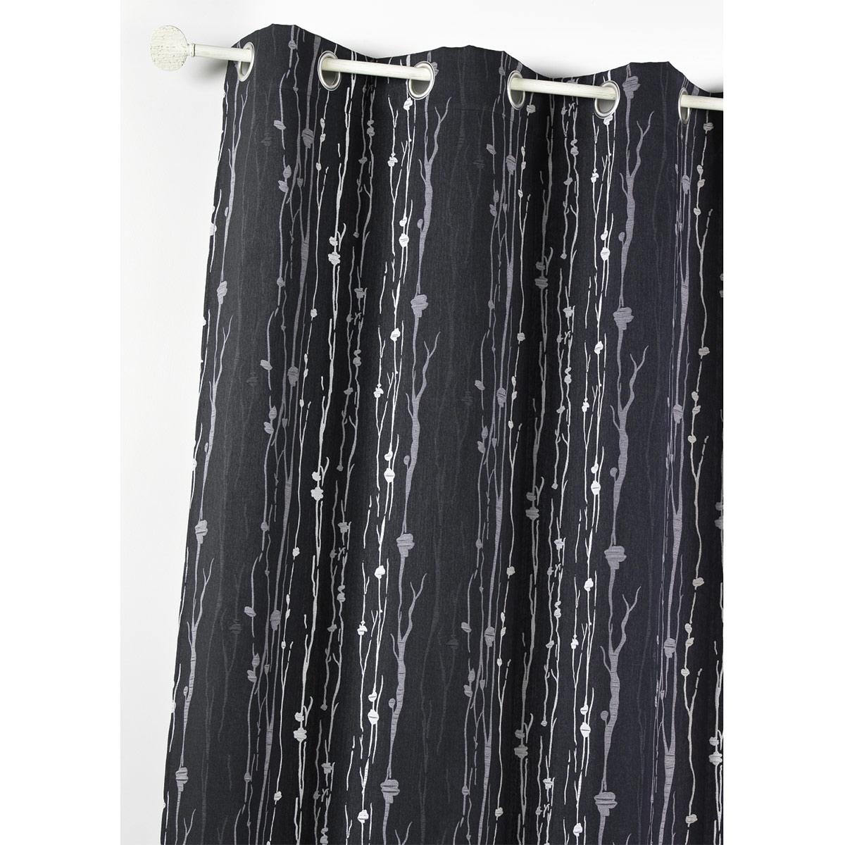 Rideau d'ameublement en jacquard imprimé racine (Noir)