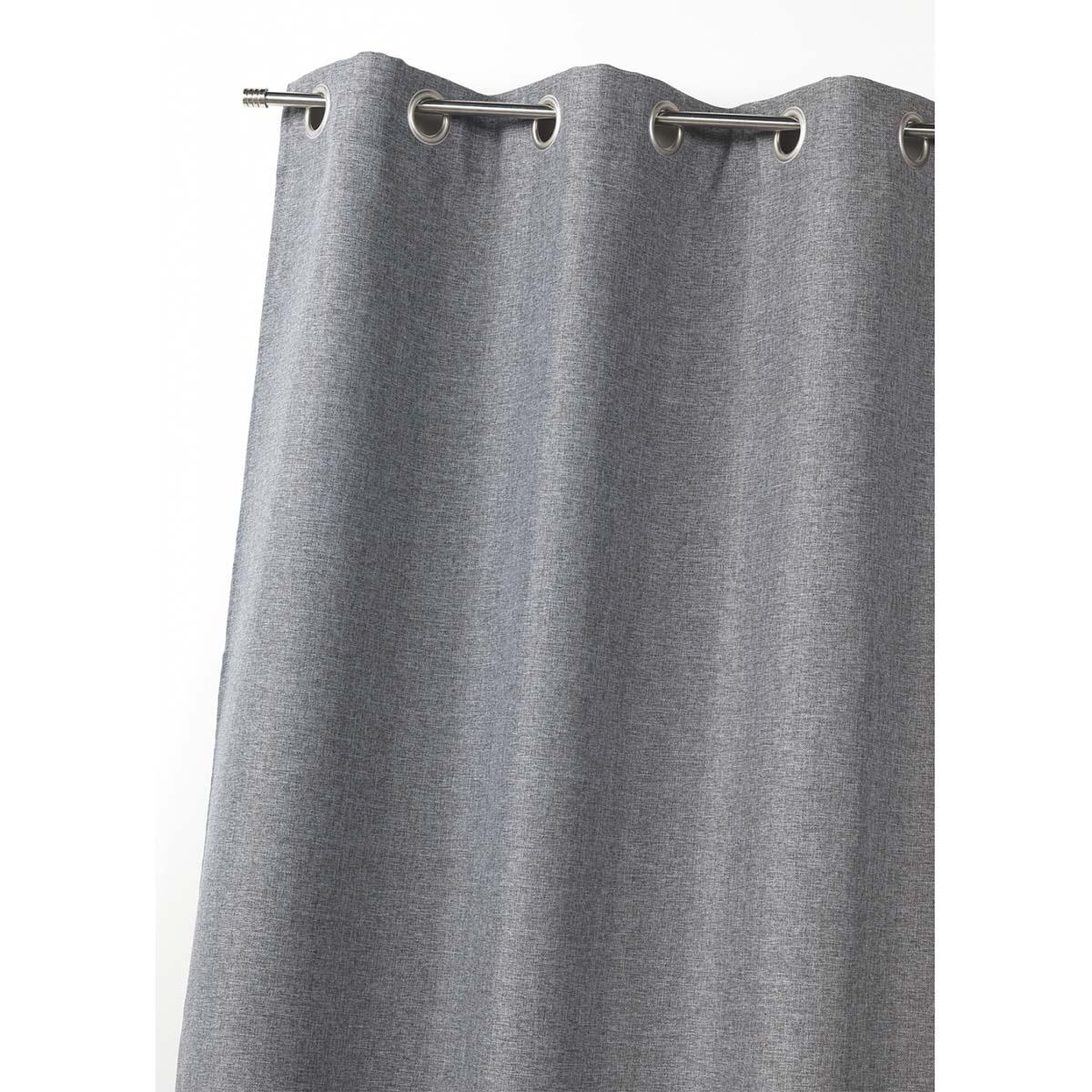 Rideau d'ameublement 100 % occultant uni doublé - Gris - 140 x 260 cm