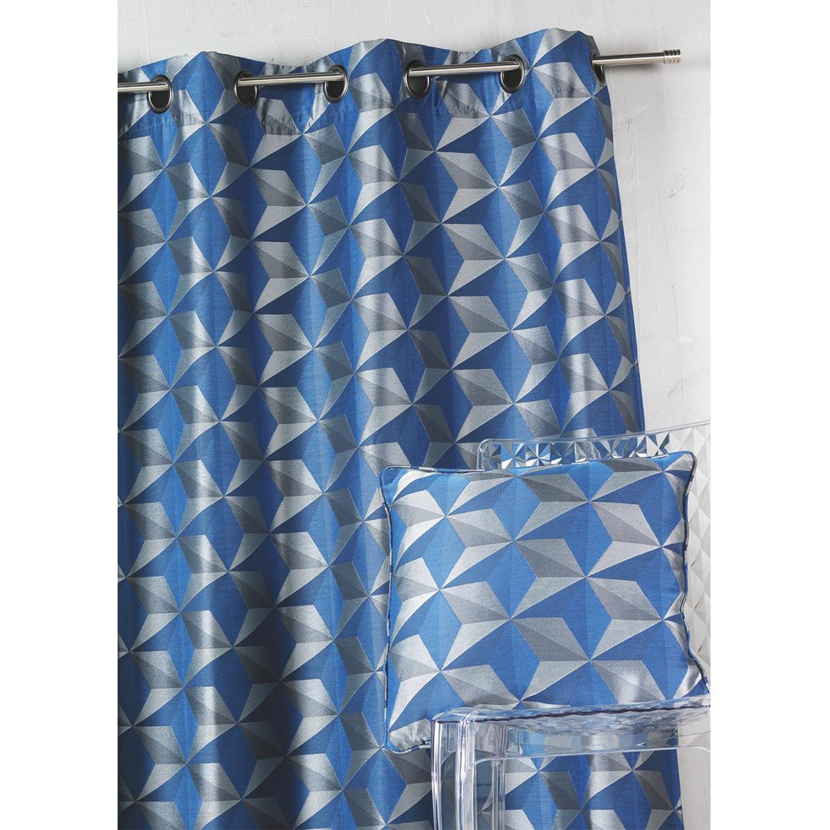 Rideau en jacquard imprimés géométriques (Bleu)