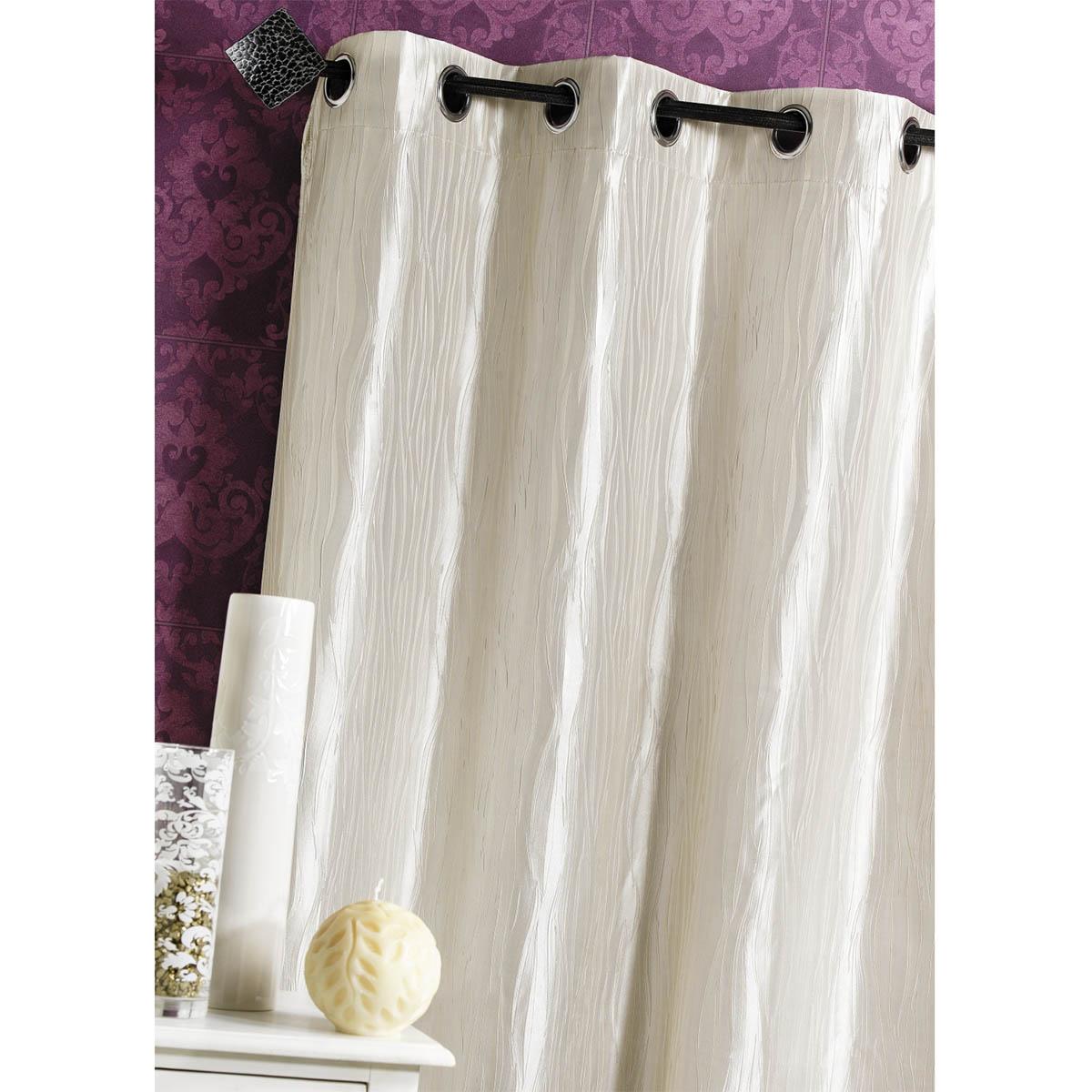 rideau d ameublement en taffetas froiss lin blanc. Black Bedroom Furniture Sets. Home Design Ideas