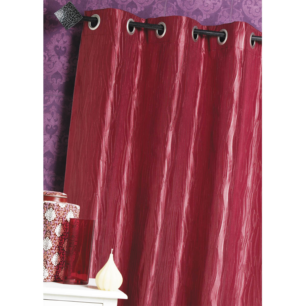Seidentaftvorhang zerknittert (Rote)