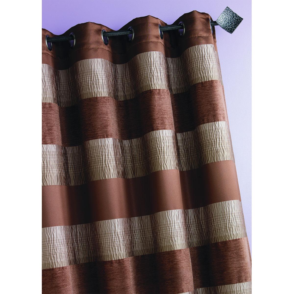 Rideau Jacquard grosses rayures horizontales (Taupe)